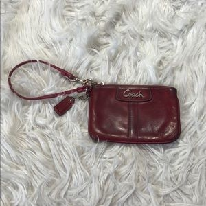 Coach Red Leather Logo Wristlet